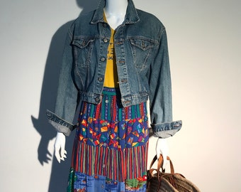 Vintage Kookai / cropped denim jacket / vintage denim jacket / 90s denim jacket / 90s clothing /  bomber jacket / bomber jacket vintage