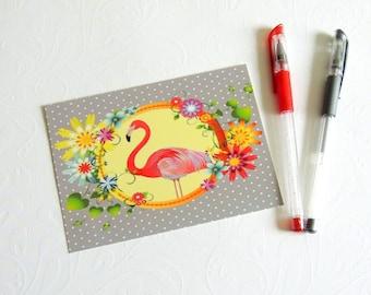 carte postale flamant rose