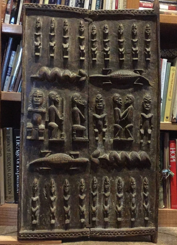 Antique hand carved Dogon door from Mali Africa & Antique hand carved Dogon door from Mali Africa