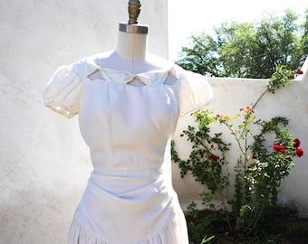 Vintage 40s Wedding Dress, Long White 1940 Bridal Gown, Vintage Drop Waist Dress Made in California, Garden wedding