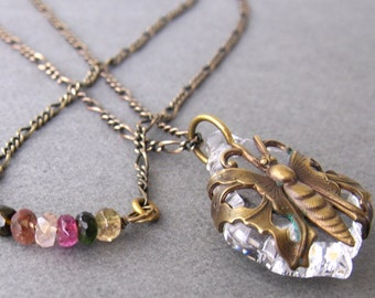 Clear Crystal Butterfly Necklace With Rainbow Tourmaline Gemstones, Boho Bohemian Layered Necklace