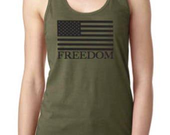 OD Green Freedom Razorback Tank Top