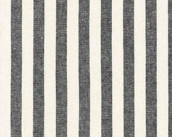 Robert Kaufman Essex Yarn Dyed Linen/Cotton Classic Wide Stripe in Black - Half Yard
