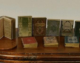 dolls house minature books, Tudor style job lot of 9 books with print! NEW !