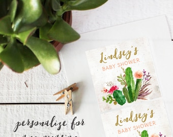 Baby Shower Labels - Succulent Design - Square - Succulent Baby Shower Favors | Cactus Baby Shower Favors | Cactus Favor Label- ANY OCCASION