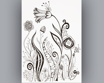 Black and White download, Instant Digital Download, Abstract flower black and white, pen line drawing