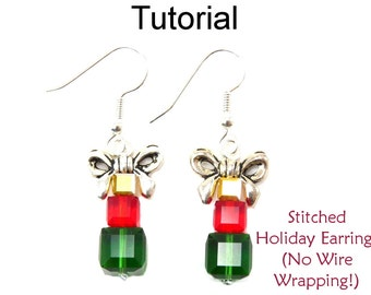 Holiday Christmas Earrings Beading Pattern - Present Tutorials - Crystals - Simple Bead Patterns - Stitched Holiday Earrings #15511