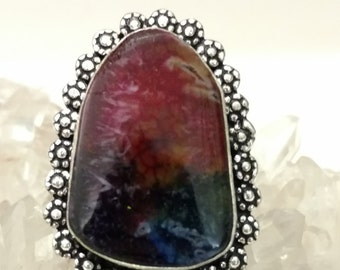 Rainbow Agate Party Ring Size 8.5