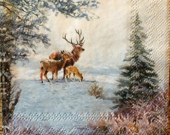 Decoupage Napkins, 4+1 FREE Single  Paper Napkins, DEEP FAMILY, 9,5 inches (25 cm) for Decoupage, Paper-Craft and Collage