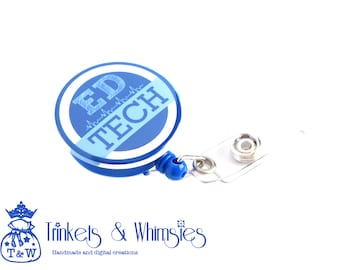 ED Tech Emergency Department Technician Blue Retractable Badge Holder