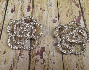 Bridal Flip Flops Vintage rhinestone rose brooch, floral  brooch destash, bling roses brooch, rose pins, jewelry destash, rhinestone pins