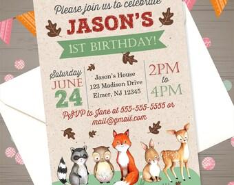 WOODLAND Birthday Invitation Woodland Animals Invitation Woodland Invitation Forest Animals Invitation Fox Bear Racoon Deer Rustic Invite