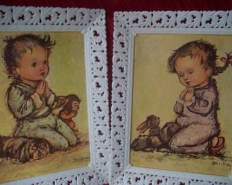 "Nursery Wall Art Framed J. Burkac Lithograph ""Bedtime Prayers"" Donald Art Co. NY Printing"
