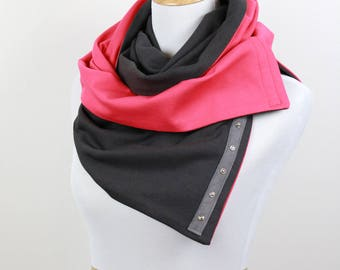Sale! Valentine Snap Scarf, Reversible Coral & Gray Scarf, Snap scarf, 9 ways to wear, fitness scarf, gift for her, travel scarf
