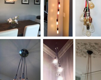 7 Cluster Custom Any Colors - Chandelier multi Pendant Lighting modern Rainbow Cloth Cords Industrial pendant light ceiling fixture lamp