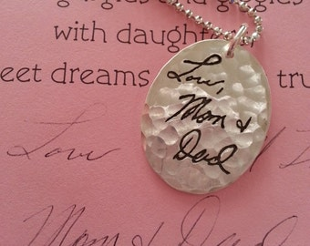 Large Oval Hammered Pendant -Memorial Jewelry Your Actual Loved Ones Writing Single Sided Silver - larger size