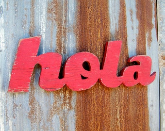 Hola Spanish Sign, Hello Sign, Welcome Sign Wooden