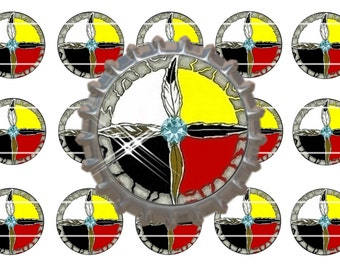 "Native American Inspired ~ Instant Download ~ Set of 15 1""  Bottle Cap Images  (NA 147) Medicine Wheel"