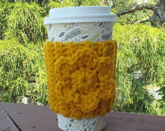 Golden Yellow Cup Cozy, Crochet Coffee Sleeve with Flower, Coffee Cosy, Drink Cozy, Reusable Coffee Cozy