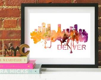 Denver Watercolor Skyline, Denver Skyline, Denver Art, Denver Poster, Denver Print, Denver Art, Denver Map, Denver Wall Art, Colorado Art