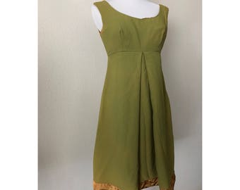 Sale! XS Chartreuse 60s Party Dress with train and Gold Santin Hem Fully Lined