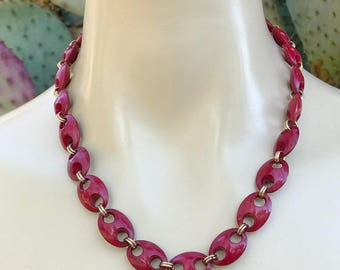 Red & Gold Tone, Minimalist, Beaded Necklace