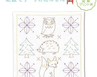 Olympus Scandinavian Motifs Design Hana Fukin Sashiko Kit with Cloth and Threads - Traditional Japanese Craft