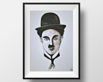 Charlie Chaplin watercolor framed