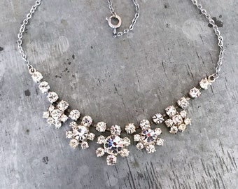 Vintage rhinestone necklace, vintage crystal choker, vintage wedding, rhinestone necklace, white crystals, clear crystals, crystal necklace