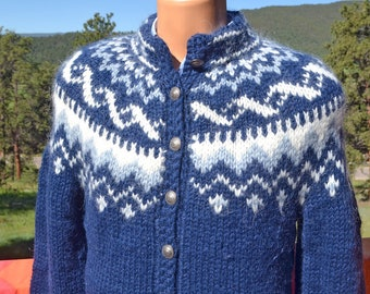 vintage cardigan sweater ICELANDIC wool ski snowflake handknitting association iceland yoke Medium 42 Large