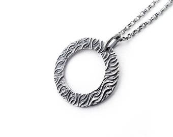 Waves Hoop Necklace, Textured Hoop Necklace, Waves Pendant, Sterling Silver Jewelry, Round Earrings, Sterling Silver .925