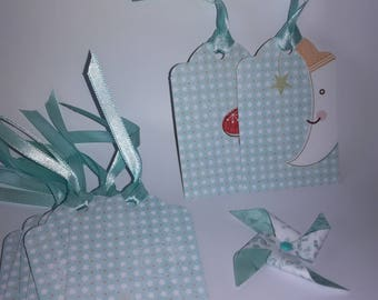 Each gift tag (set of 10) - baby blue and white