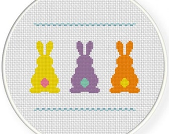 "Handmade, Unframed ""Bunnies Behinds"" Cross Stitch- Easter, Spring, Summer, Holiday, Bunnies, Bunny, Home Decor, Easter Decoration, Gift"