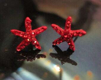 Red Tiny Starfish Earrings - Stud Earrings - Rhinestone Starfish Earrings - Beach Earrings - Beach Wedding - Nautical Jewelry