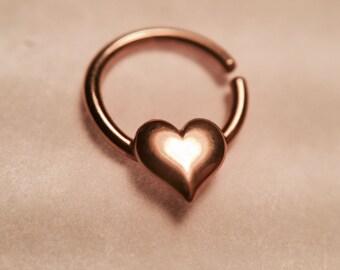 Rose Gold Heart Septum Ring