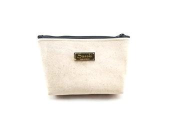 """9"""" x 5"""" - Cream Cork Gadget Bag - zipper pouch - Bag organizer"""