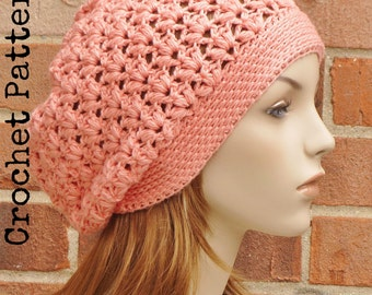 CROCHET HAT PATTERN Instant Pdf Download - Clementine Slouchy Beanie Pattern Womens Teen Summer Fall- Permission to Sell English Only