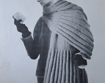 Knitted Stole Shawl Wrap Pattern - 1950's Vintage PDF Pattern, Ladies' Knit Stole Shawl Wrap 3339