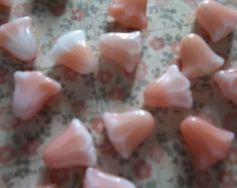Glass Flower Beads - Designer Czech Glass - Lily Flower Beads - 10mm X 10mm -   Pink Silk with White Mix -  Qty 10