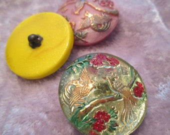 Vintage Czech glass clear button birds of paradise gold blue red flowers