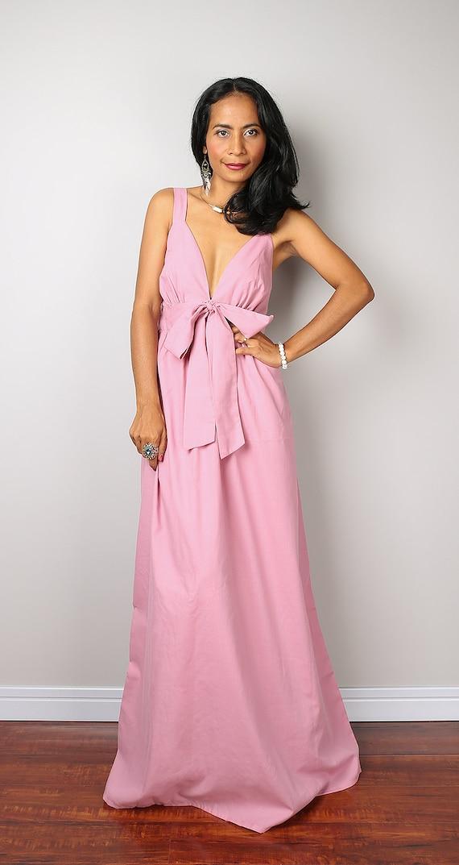 Soft Pink Dress / Pink Maxi Dress / Long Light Pink Evening