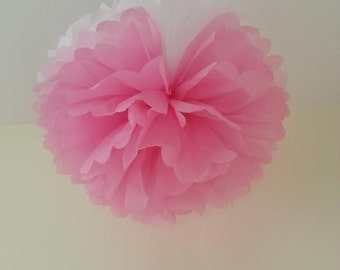 3 pink/white tissue paper pom poms decorations