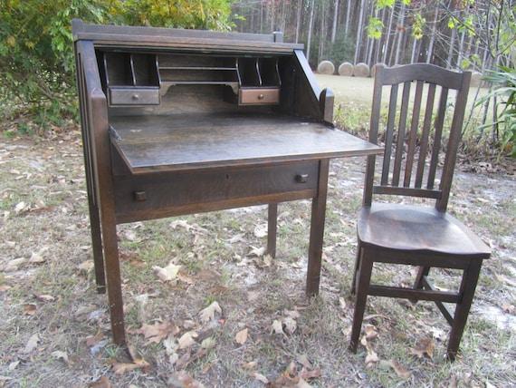Antique Mission Style Secretary Desk and Chair, slant top desk, Furniture,  Desk, Oak Chair, Cros-Kills Co. Piqua Ohio - Antique Mission Style Secretary Desk And Chair Slant Top
