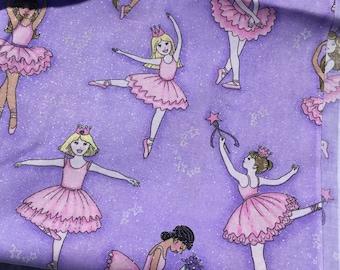 Purple Ballerinas Fabric. 2 yard piece.