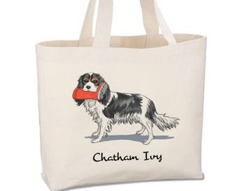 Cavalier King Charles Beach Tote by Chatham Ivy - Cavalier - preppy dog tote - beach tote