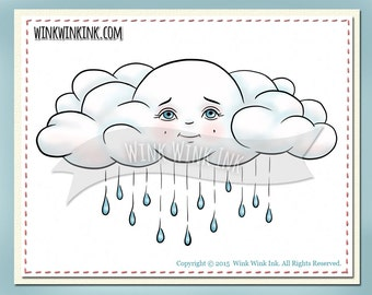 Digital stamp - Cloudy - rain cloud with raindrops printable digi image
