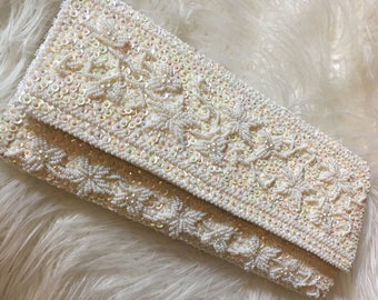 Incredible long silk clutch with off-white iridescent beadwork & sequins on front / back