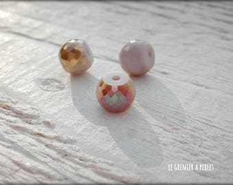 8 mm iridescent AB pink flat round X 1