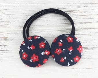 July 4th hair ties, red and blue, Elastic Ponytail Holder, Fourth of July, Hair Elastic, Girls pigtails holder, fabric buttons, hair tie