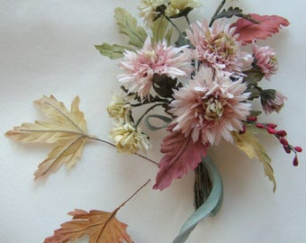 Bouquet of chrysanthemums from silk for a doll - Brooch with autumn chrysanthemums